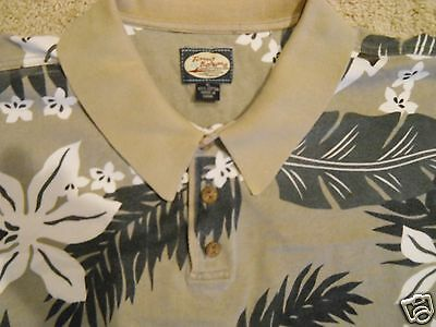 Men's Tommy Bahama Polo Shirt Size XL Vintage Banded Collar Muted Floral