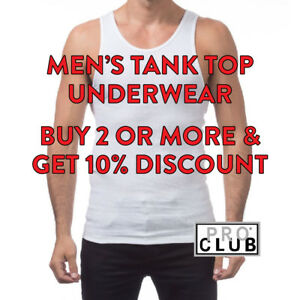 58c5137a PROCLUB MENS UNDERWEAR WHITE A-SHIRT TANK TOP WIFEBEATER MUSCLE ...