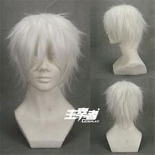 Future City No.6 Shion silver White Short Anime Cosplay Costume Wig + Free NET