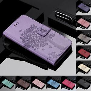 Pour-Samsung-Galaxy-S10-G5-A40-Arbre-amp-CHAT-en-Cuir-Flip-Portefeuille-Carte-Etui-Support