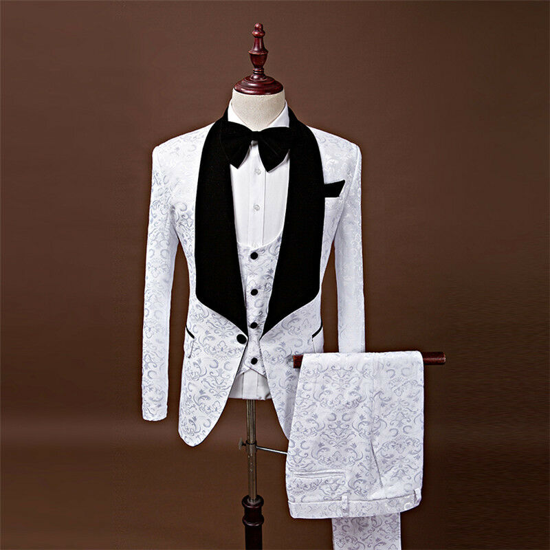 White Floral Men's Suits Groom Wedding Tuxedos Slim Groomsman Prom 3 Piece Suits