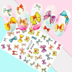 Nail-Art-Stickers-Transfers-3D-Self-Adhesive-Multicoloured-Bows-XF3030