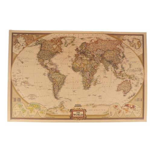 World Map Vintage  Matte Paper Kraft Antique Poster Wall Sticker Home Decor IJD