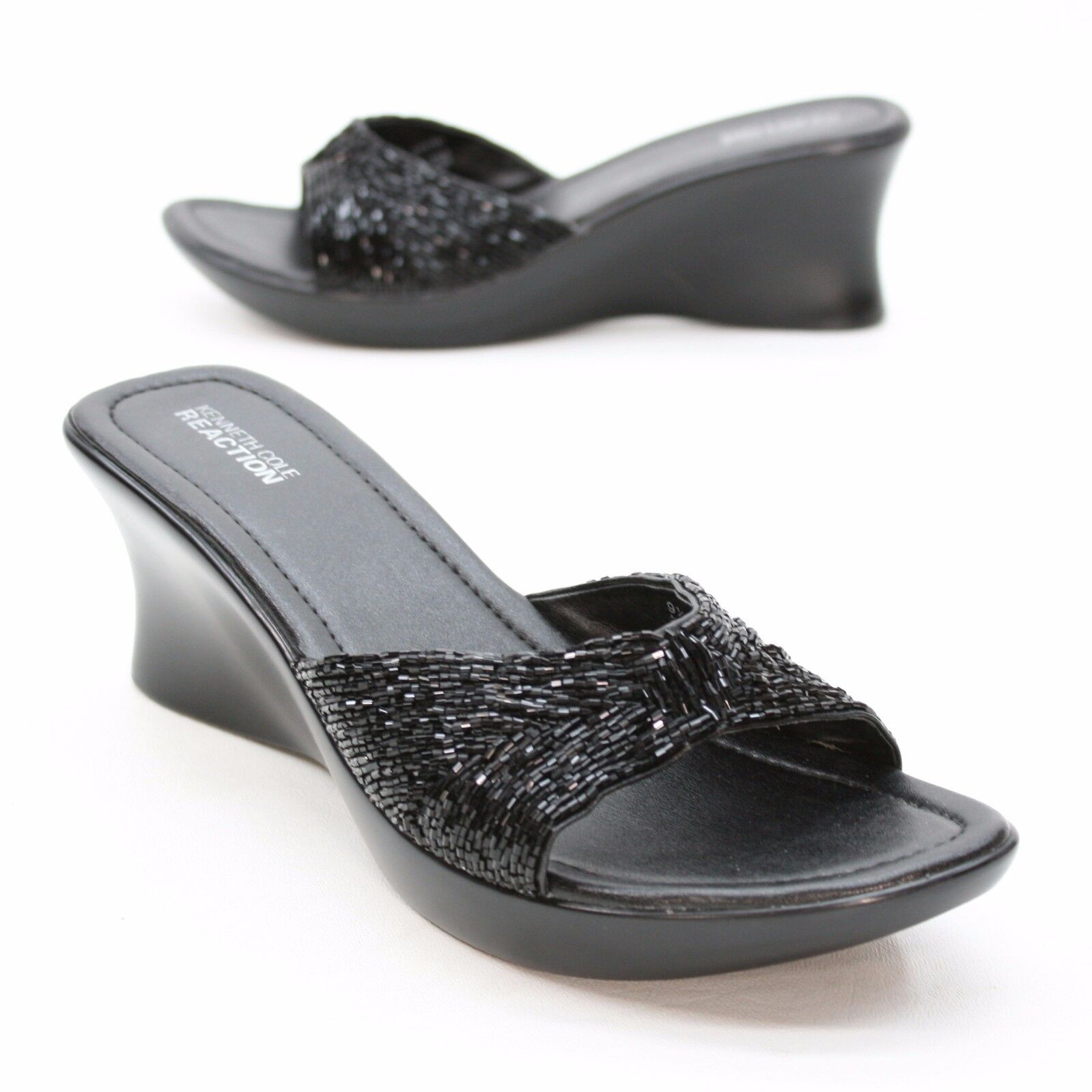 Kenneth Cole Reaction Ladies 9.5 M Beaded All Clear Black Platform Beaded M Wedge Sandals d3052c
