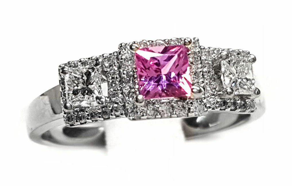Pink Sapphire & Diamond 3 Section Ring in 14kt. White gold 85pts t,w, Diamonds