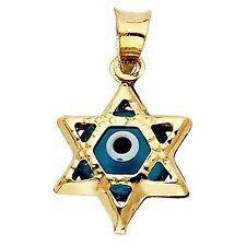 MCS Jewelry 14 Karat Yellow Gold Evil Star of David Charm Pendant (18 mm) 14 K
