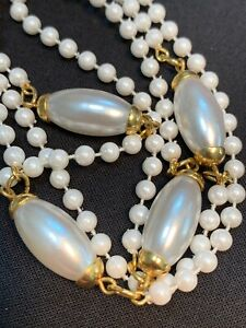 Vintage-white-imitation-pearl-beaded-long-necklace-36-Inches-Nice-Luster