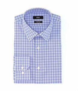 HUGO-BOSS-ENZO-BLACKLABEL-DRESS-SHIRT-REGULAR-FIT-POINT-COLLAR-CHECKED-BLUE-NWT