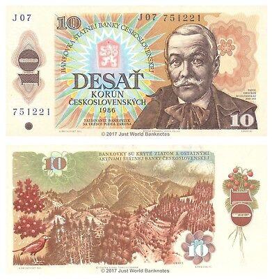 1986 P-94 Czechoslovakia 10 Korun Banknote Europe Paper Money UNC