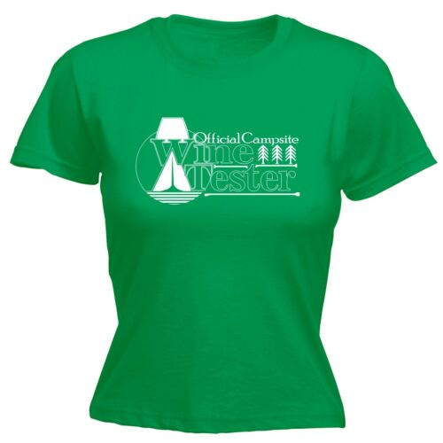 Womens Official Campsite Wine Tester Funny Joke Camping FITTED T-SHIRT Birthday