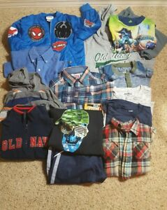 Lot-of-14-Boys-4-5-T-XS-Old-Navy-Wrangler-Spiderman-OshKosh-Jackets-Shirts-EUC