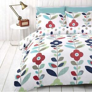 Lulu-Floral-Housse-de-Couette-King-Size-amp-Set-Taie-D-039-Oreiller-Bleu-2-IN-1