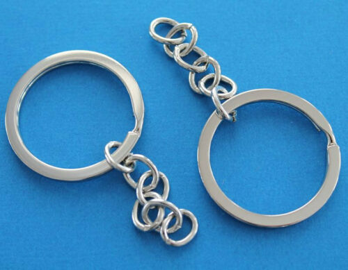 6 Key Chain Rings Shiny Silver 26mm with Attached Chain Z009