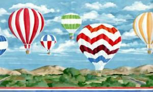 Hot-Air-Balloon-Wallpaper-Border-Nursery-Colorful-Scenic-Country-Red-Green-Blue