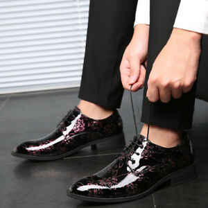 Patent Leather Mens Lace Up Oxford Cuban Heels Dress Bridal Formal British Shoes