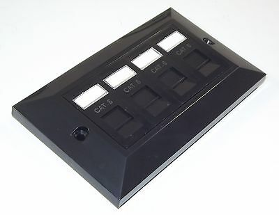 BLACK BEVELLED Cat6 RJ45 Quad (4 way) Face Plate Ethernet Network 2 gang socket