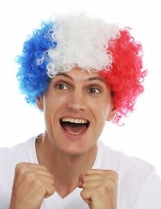 Perruque-Carnaval-Afro-Fan-Football-WM-Tricolore-Bleu-Blanc-Rouge-France