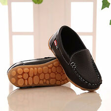 9cf225a765e Boys Girls Kid Casual Soft Peas Leather Slip On Flat Shoes Loafer Oxford  Sneaker