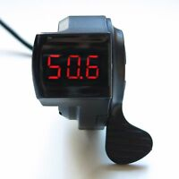 Electric Bike Scooter Thumb Throttle With 12-100v Led Display Voltmeter