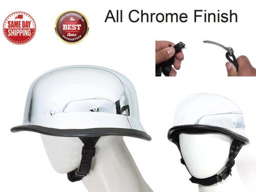 Motorcycle German Novelty All Chrome Skull Cap Helmet W//Adjustable Chin Strap