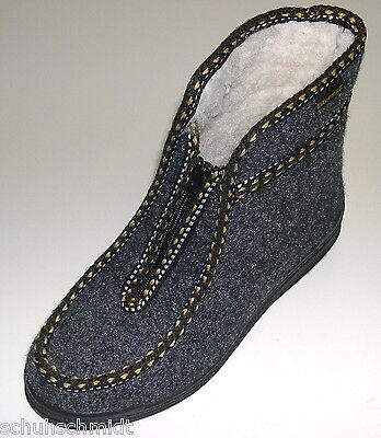 Damen Schuhe Hausschuhe Hüttenschuhe Warmfutter Wolle Filz Art TOP-12-W schwarz