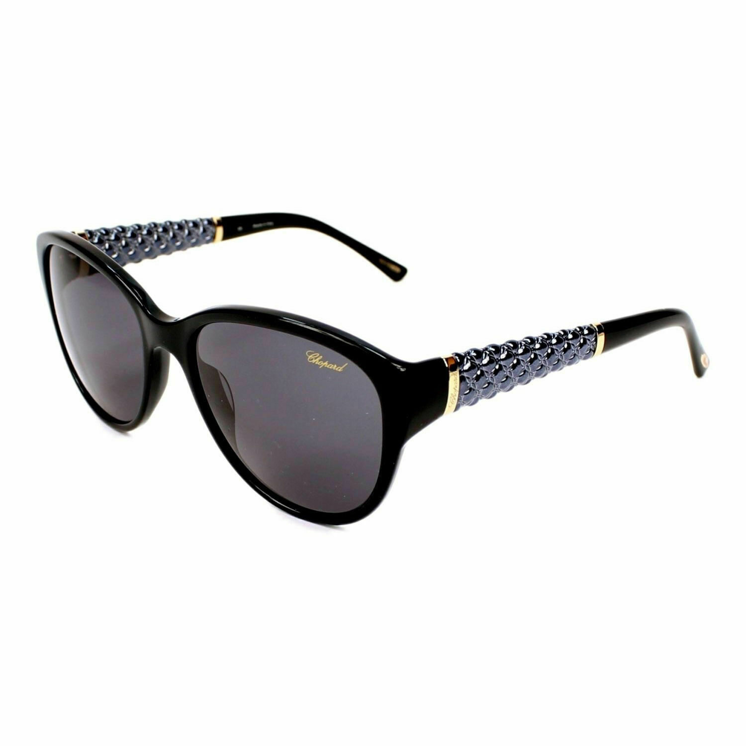 Chopard Ladies Butterfly Sunglasses sch127 0700 Black Gold/Grey NEW with Case