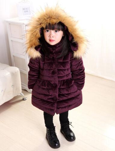 Winter Baby Kids Girls Long Padded Coats Fur Hooded Jacket Puffer Warm Parka Bow