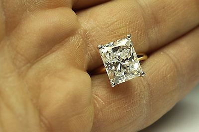 ENGAGEMENT SOLITAIRE RING 3.50 CT RADIANT CUT 14 KARAT WHITE GOLD  10x8mm