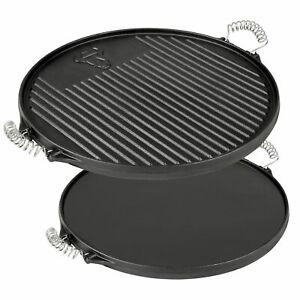 Wende-Grillplatte-Pizzaplatte-Rund-43-cm-Grillaufsatz-aus-Gusseisen
