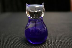 Murano-Italian-Art-Glass-Sculpture-Figure-MICRO-CAT-Clear-and-Blue-Colors