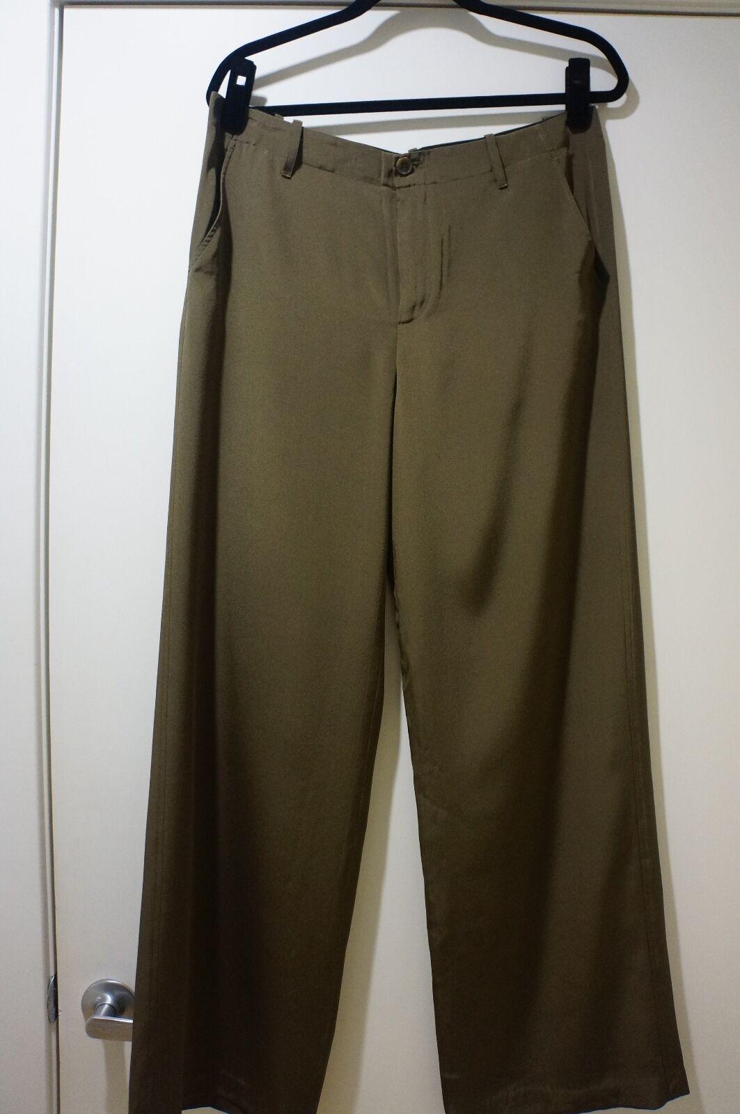 295 NWT VINCE Wide Leg 100% Slik Olive Green Brown Trousers Pants Sz 8