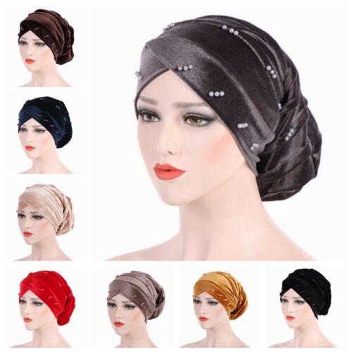 Women/'s Velvet Hat Cap Muslim Hair Loss Head Turban Head Wrap Cover Hijab Beads