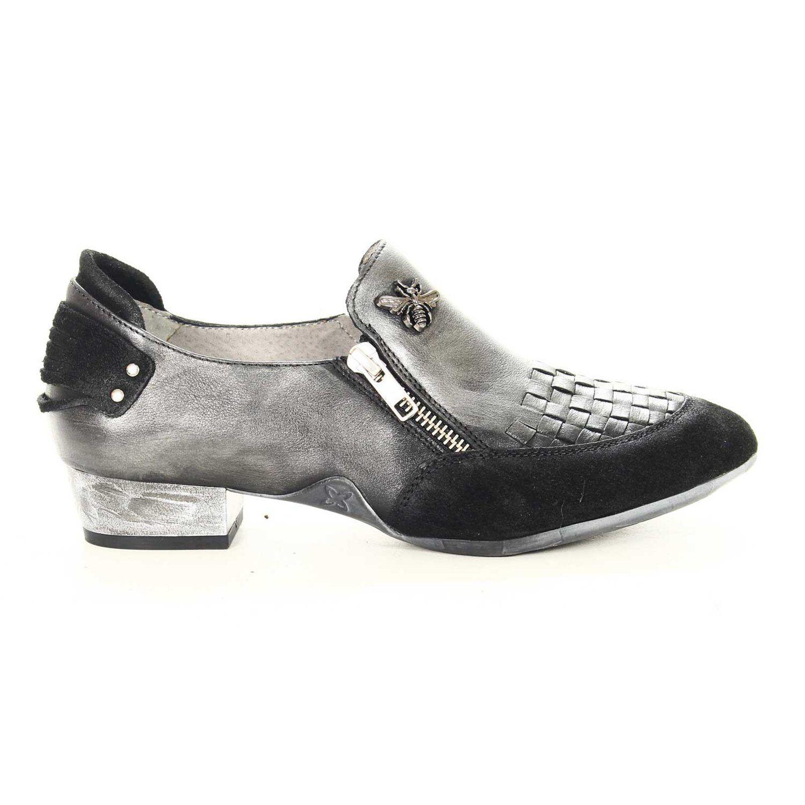 Chaussure pour femme lisse   daim black   anthracite avec fermeture à glissière