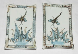 Chop-Stick-or-Sauce-Dishes-Oriental-Rectangular-Dragonfly-Vietnam-TWO