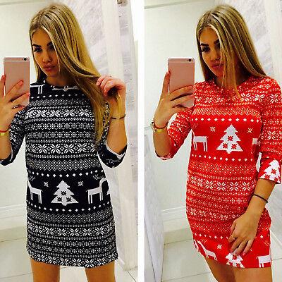 Damen Langarm Minikleid Weihnachten Partykleid Bodycon Pulloverkleid Kurz Kleid