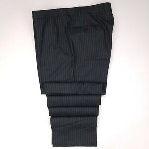 Canali-Flat-Front-Pants-38x37-Gray-Striped-Mens-Trouser-Wool-Italy-AL-14220-Size