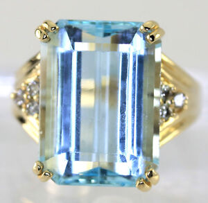 Diamante-topacio-azul-anillo-14K-oro-amarillo-brillante-redondo-corte-esmeralda