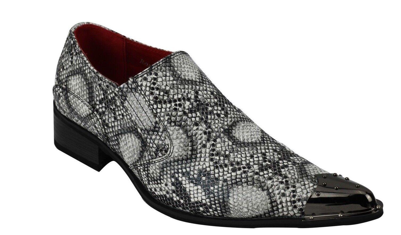 Rossellini Benitez Men Shoes Black Leather Snake Skin Lined Metal Pointed Rock