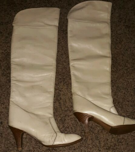 VINTAGE GOLO BOOTS Tall Riding Boots Ivory Leather