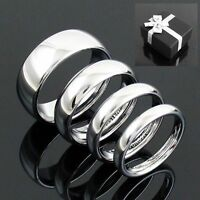 Tungsten Mirror Polished Silver Wedding Band Ring 3mm 4mm 6mm 8mm Men & Women