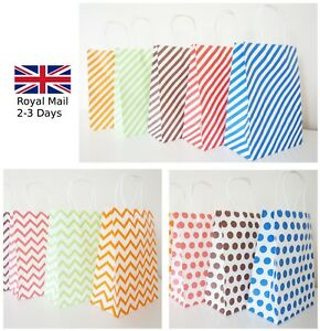 12-LUXURY-PAPER-PARTY-GIFT-BAGS-POLKA-DOT-CHEVRON-STRIPE-KRAFT-WITH-HANDLES