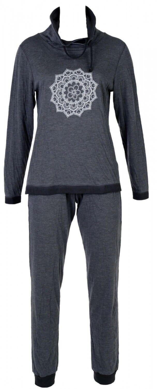 Nina von C Damen warm Hausanzug Loungewear Homewear romantisch Ornament Druck