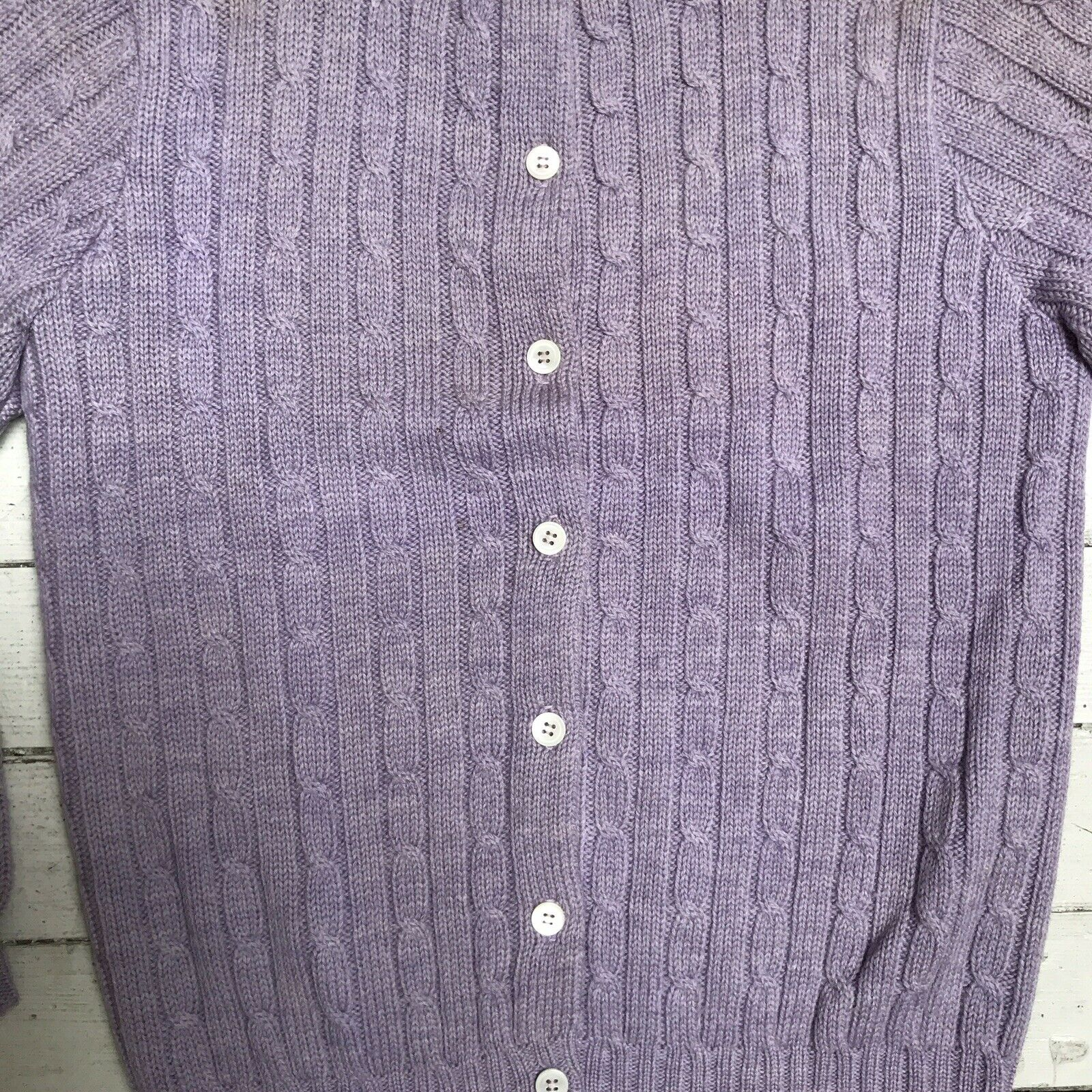 VTG EDWARD WARREN Light Purple Lilac Cable Knit S… - image 2