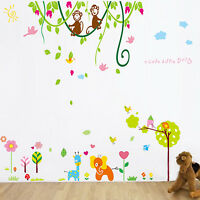 Wall Stickers Mural Decal Paper Art Decoration Baby Elepnant Monkey Jungle Kids