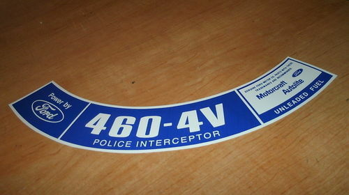 79 FORD TRUCK 460 POLICE INTERCEPTOR AIR CLEANER DECAL