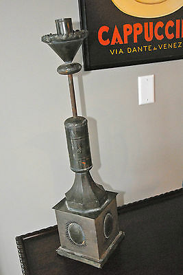 """PILLAR CANDLE HOLDER WELDED METAL AN EXQUISITLEY CRAFTED HOME 27"""" STEAM PUNK"""