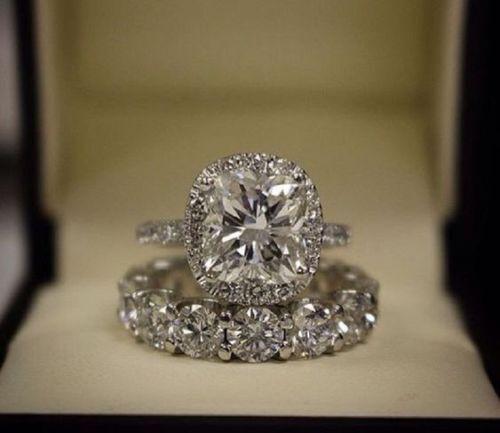 3Ct Cushion-Cut Diamond Halo Bridal Set Engagement Ring 10K White Gold Finish