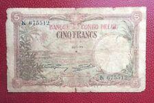 Congo Belge - Belgique - Rare billet de 5 Francs  du 21-01-1929