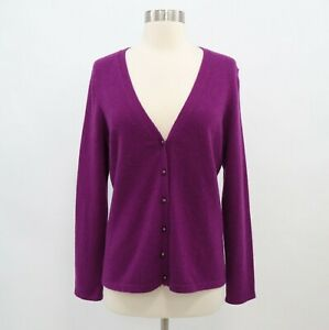 J-McLaughlin-100-Cashmere-Cardigan-Sweater-Womens-M-Medium-Purple-V-Neck