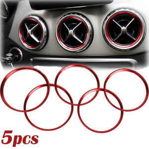 5Pcs-Red-Air-Vent-Outlet-Ring-Cover-Trim-For-Benz-A-B-CLA-GLA-Class-180-200-220